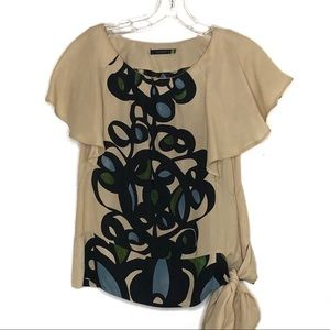 Anthro Leifsdottier cream silk floral top 532